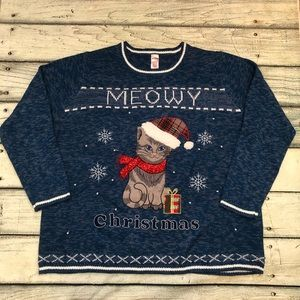 Ugly Christmas sweater blue cat on front 3X